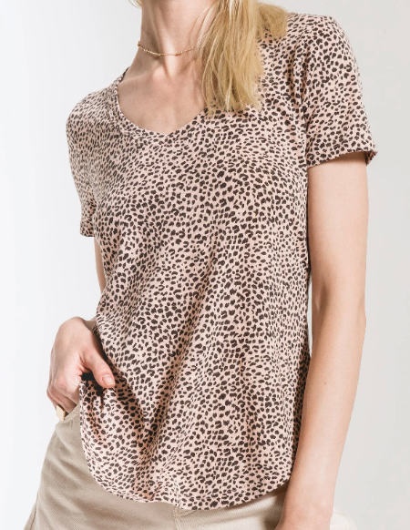 Pale Blush Mini Leopard V-Neck Tee