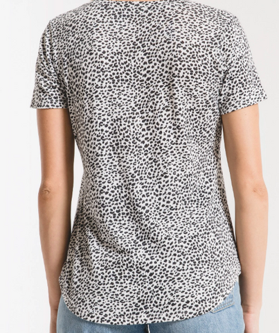 Off White Mini Leopard V-Neck Tee