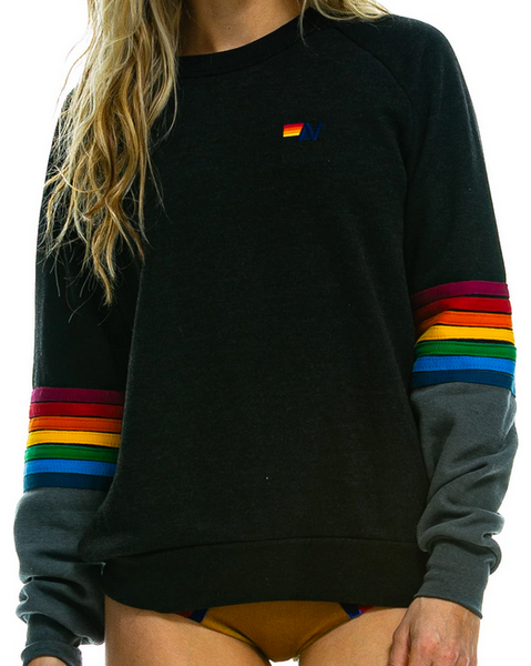 Rainbow Stitch Sleeve Crew Sweatshirt