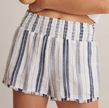 Navy Fray Hem Shorts