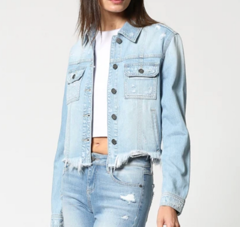 REBEL LIGHT WASH CROPPED FRAYED JACKET