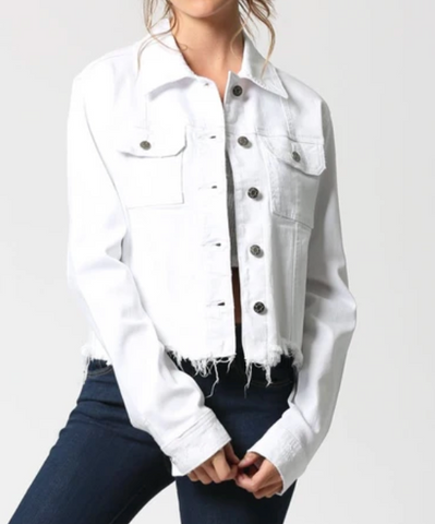 REBEL WHITE FITTED FRAYED HEM JACKET