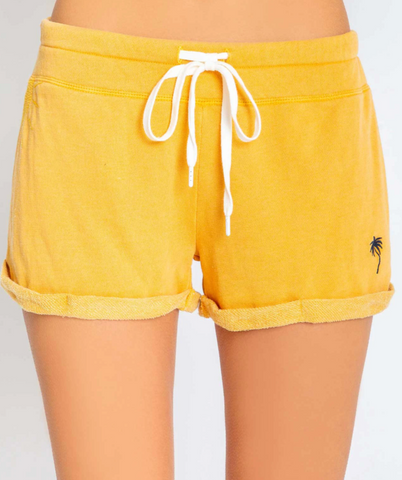 Embroidered Palm Tree Shorts - Gold