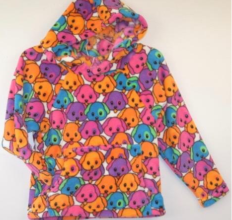 "Made with Love and Kisses Fuzzy Flurry Neon ""Emoji Dogs"" Hooded Sweatshirt"