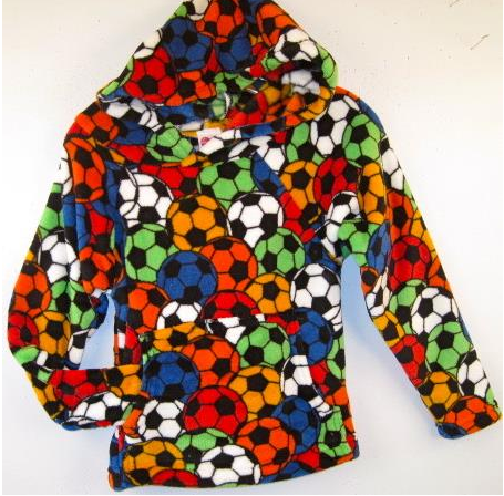 "Made with Love and Kisses Fuzzy Primary Colors ""Soccer Balls""  Hooded Sweatshirt"