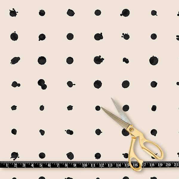 Fabric by the yard : Dotted Line© // Black + Cremé