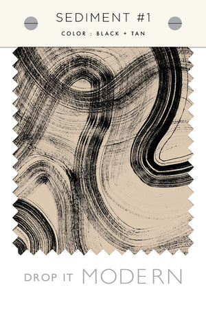 Fabric by the yard : Sediment #1© // Black + Tan