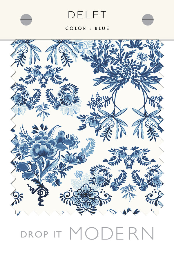 Fabric by the yard : Delft© // Blue