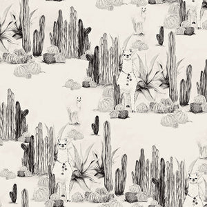 Fabric by the yard : Desert Llama© // Black + cremé