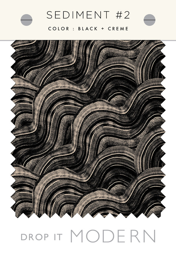 Fabric by the yard : Sediment #2© // Black + Creme