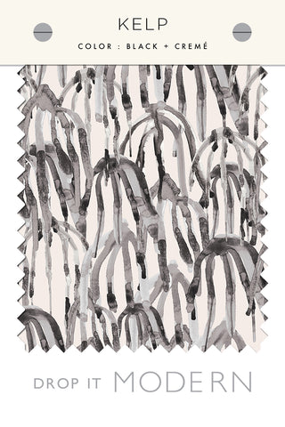 Fabric by the yard : Kelp© // Black + Cremé