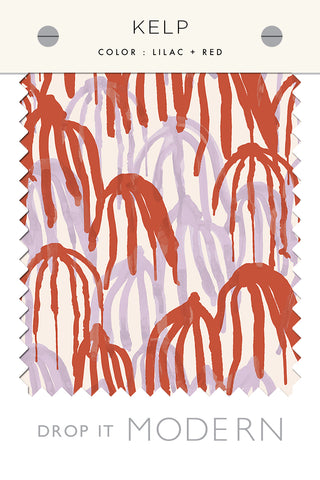 Fabric by the yard : Kelp© // Lilac + Red