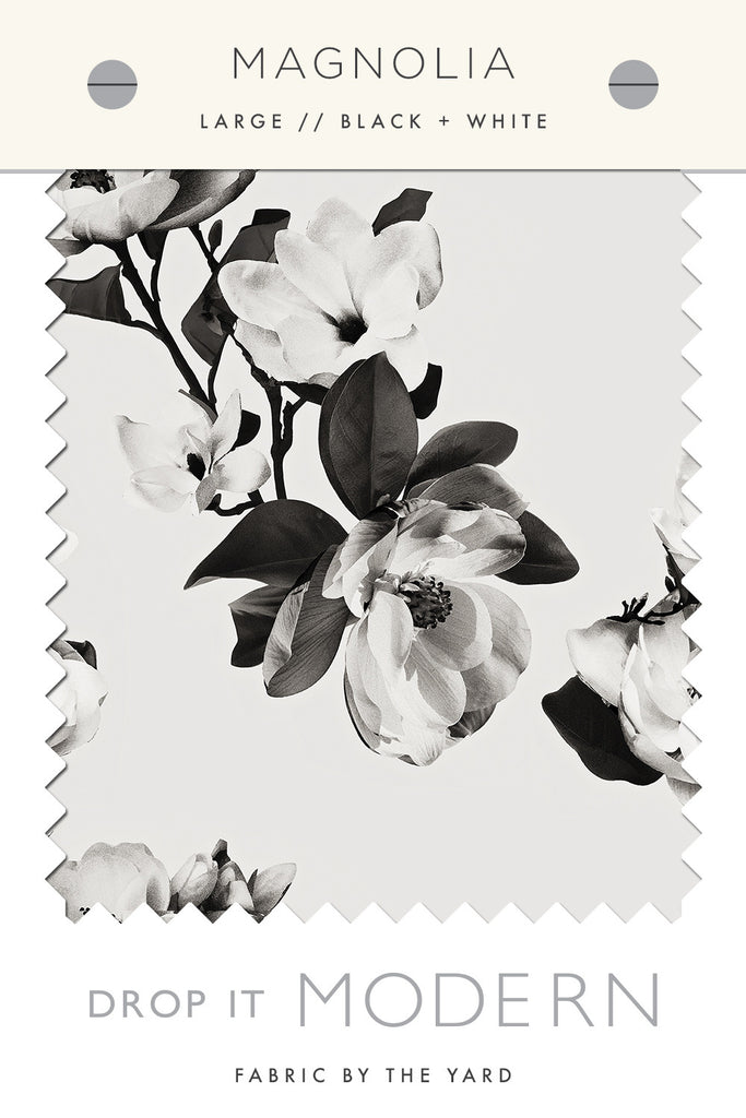 Fabric by the yard : Magnolia© // Black + White // Large