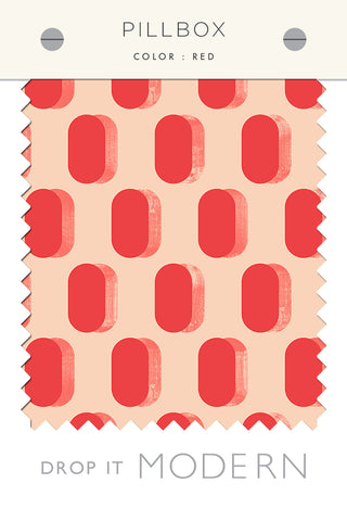 Fabric by the yard : Pillbox© // Red