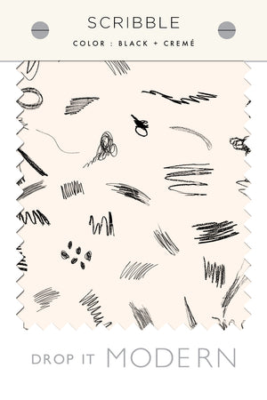 Fabric by the yard : Scribble© // Black + Cremé