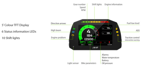 AIM MXK Kawasaki ZX10 ZX10R Dash Logger Display & Laptimer