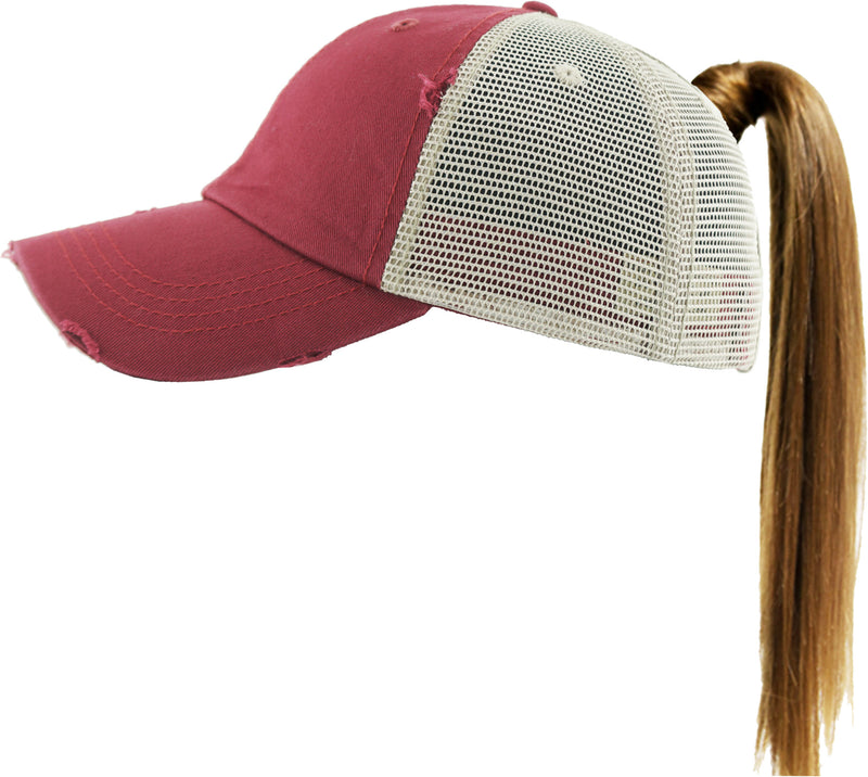 Distressed Pony Cap - Burgundy