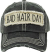 Distressed Patch Baseball Cap - Bad Hair Day (Black)