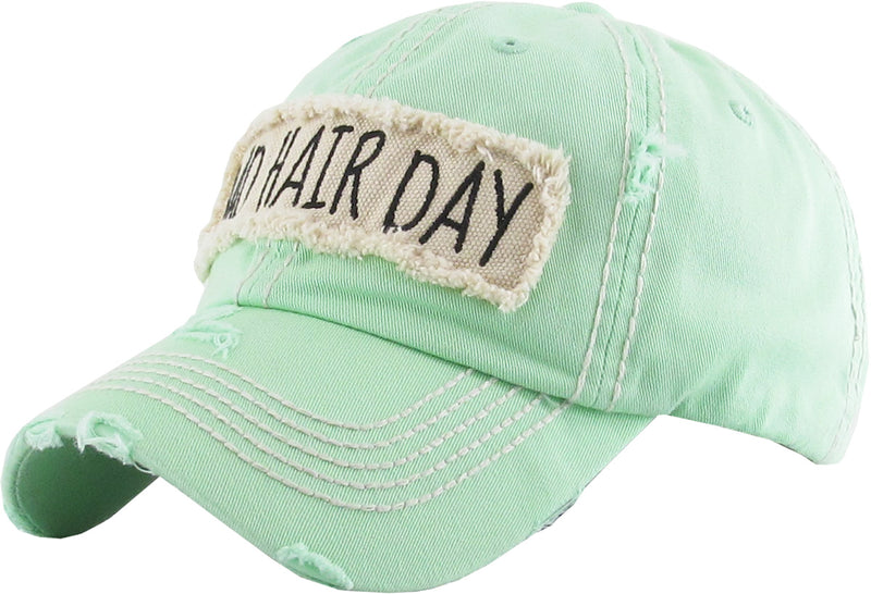Distressed Patch Baseball Cap - Bad Hair Day (Seafoam)