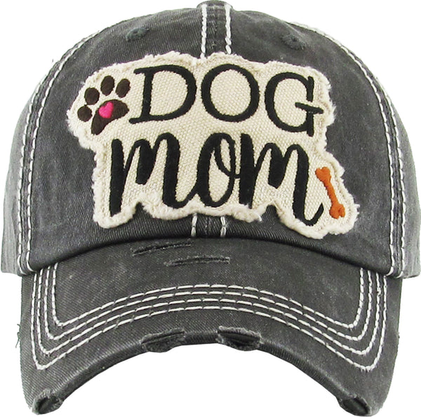 Distressed Embroidered Baseball Cap - Dog Mom (Black)