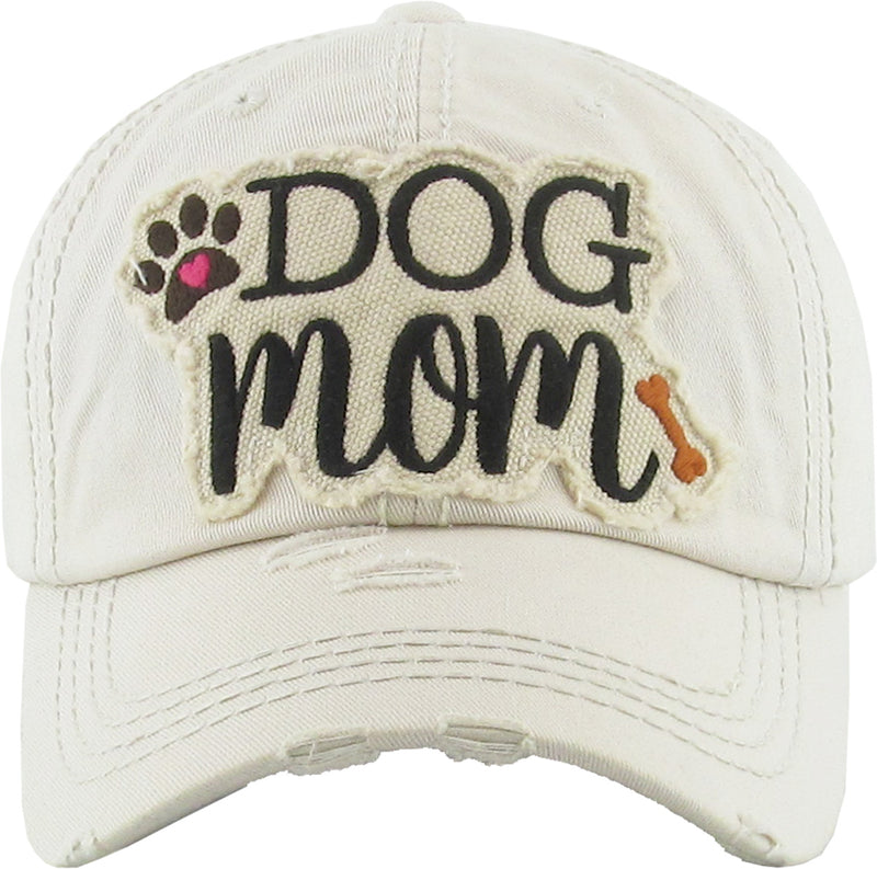 Distressed Embroidered Baseball Cap - Dog Mom (Beige)