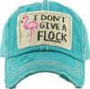 Distressed Embroidered Baseball Cap - I Don't Give A Flock (Teal)