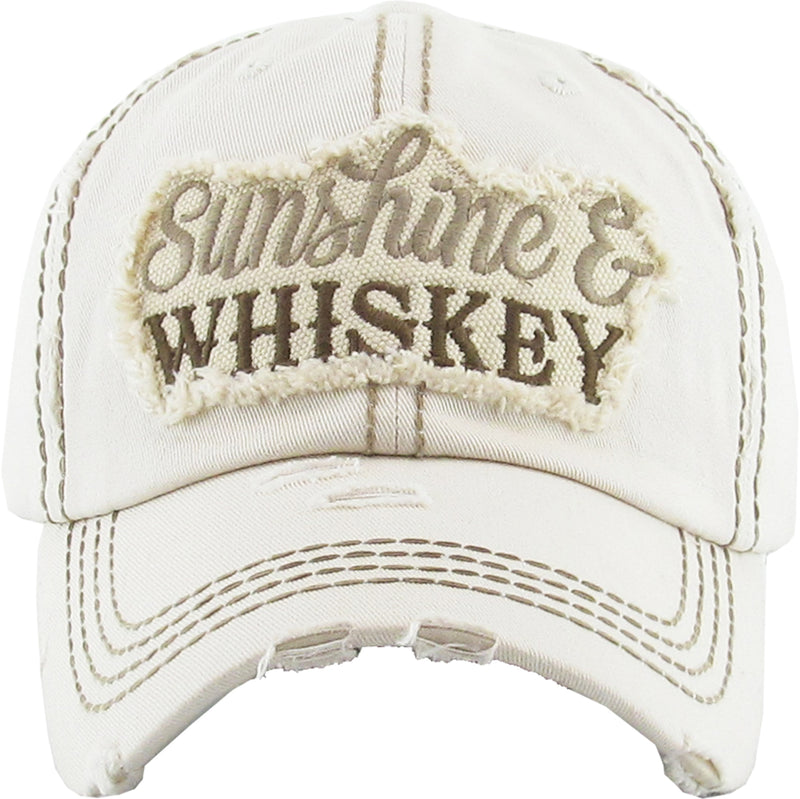 Distressed Embroidered Baseball Cap - Sunshine & Whiskey (Beige)