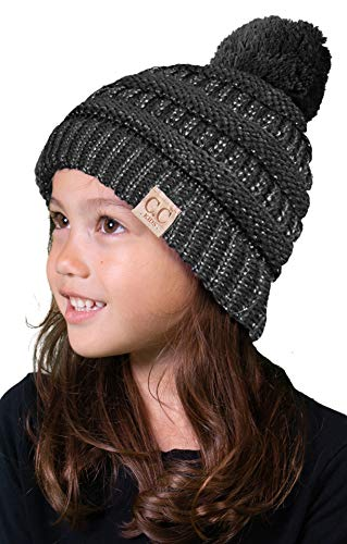 C.C. Kid's Classic Fit Cable Knit Beanie W/ Pom - Metallic