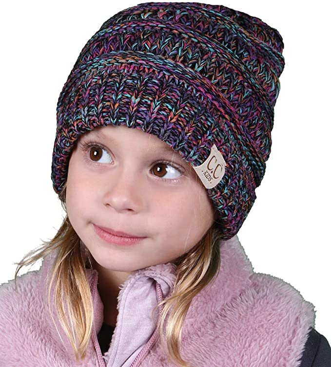 C.C. Kid's Classic Fit Cable Knit Beanie - Tricolor