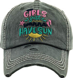 Distressed Patch Hat - Girls Just Wanna Have Sun