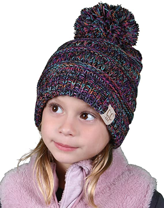 C.C. Kid's Classic Fit Cable Knit Beanie W/ Pom - Tricolor
