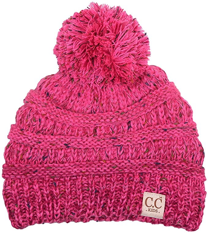 C.C. Kid's Classic Fit Cable Knit Beanie W/ Pom - Confetti
