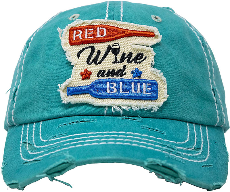Distressed Patch Hat - Red, Wine, & Blue