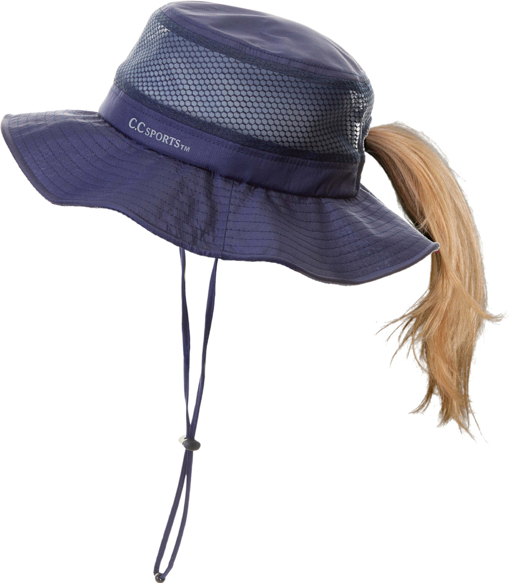Ponytail Sun Hat w/Removable Chin Strap