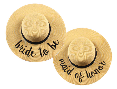 Funky Junque's Women's Bold Cursive Embroidered Adjustable Beach Floppy Sun Hat Duo - Bride to Be, Maid of Honor