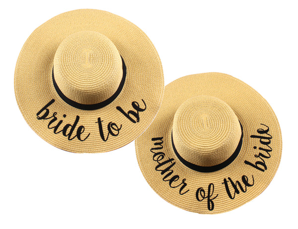 C.C Embroidered Sun Hat Duo - Bride to Be & Mother of the Bride