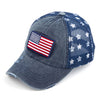 Washed Trucker Hat w/ American Flag
