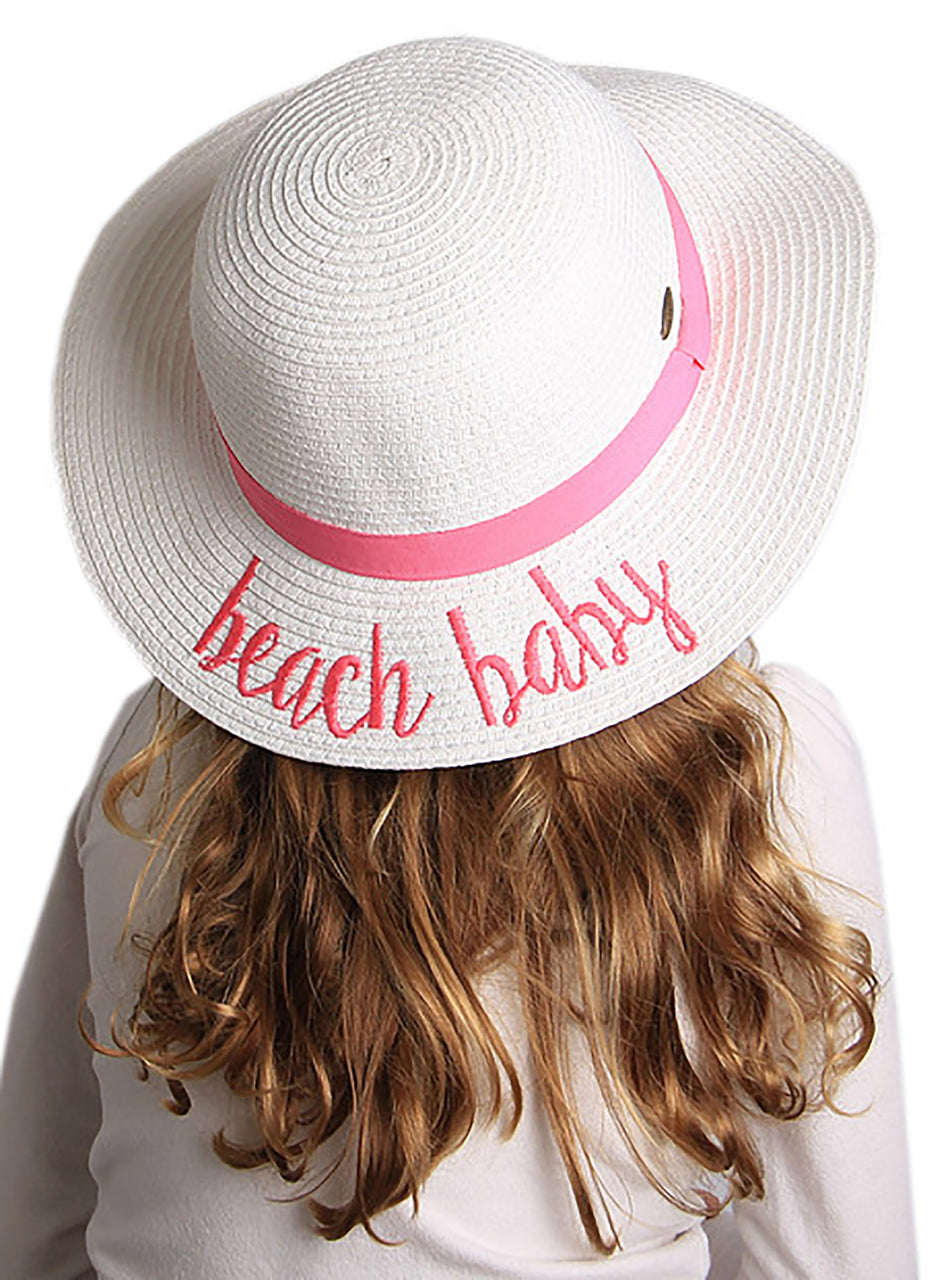 C.C Girls Embroidered Sun Hat - Beach Baby (White)