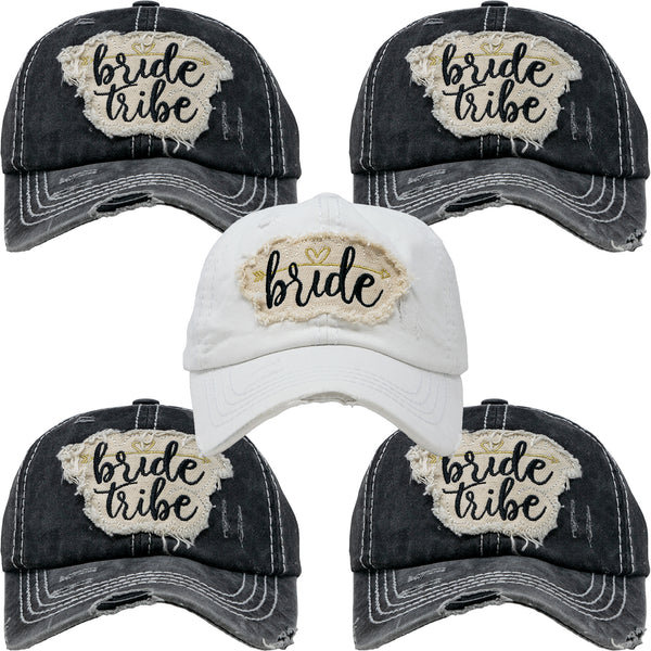 Bridal Hat Bundle: Bride, 4 Bride Tribe (Black)