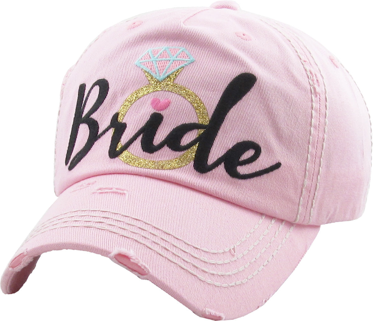 Distressed Bridal Baseball Cap- Bride w/Ring - Light Pink w/BLK