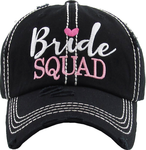 Distressed Bridal Baseball Cap - Bride Squad - BLACK