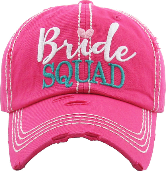 Distressed Bridal Baseball Cap - Bride Squad - Hot Pink