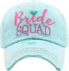 Distressed Bridal Baeball Cap - Bride Squad - MINT