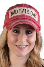 Distressed Patch Baseball Cap - Bad Hair Day (Red)