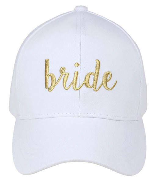 C.C Embroidered Baseball Cap - Bride (White with Gold Lettering)