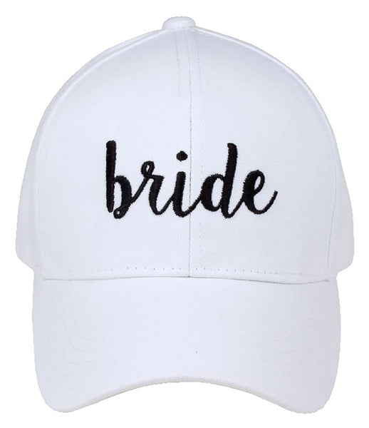 C.C Embroidered Baseball Cap - Bride (White with Black Lettering)