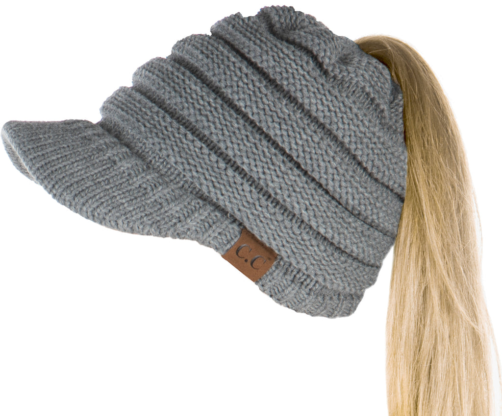 C.C. BeanieTail Women's Ponytail Cable Knit Beanie W/ Brim