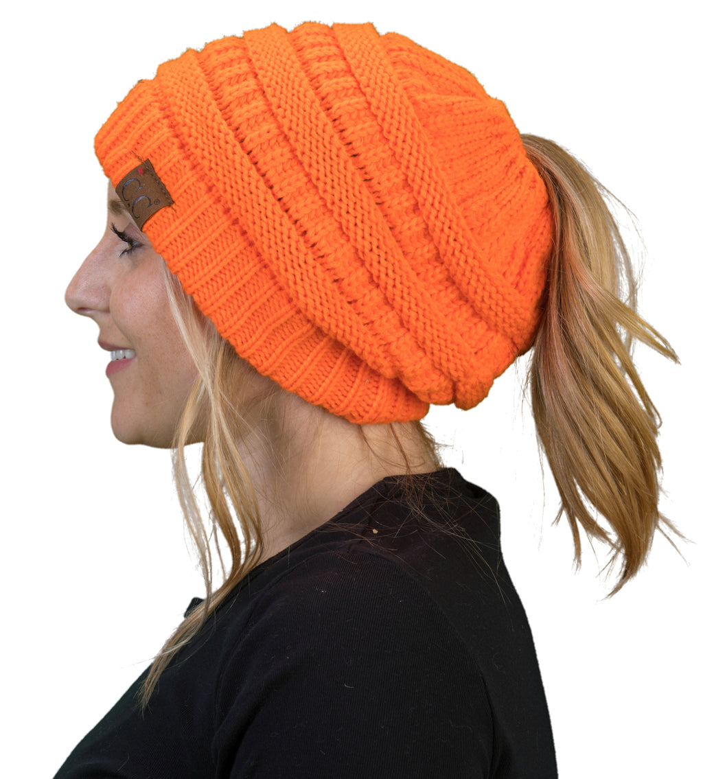 C.C. BeanieTail Women's Ponytail Cable Knit Beanie - Neon