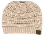 C.C. BeanieTail Women's Ponytail Cable Knit Beanie - Sequin