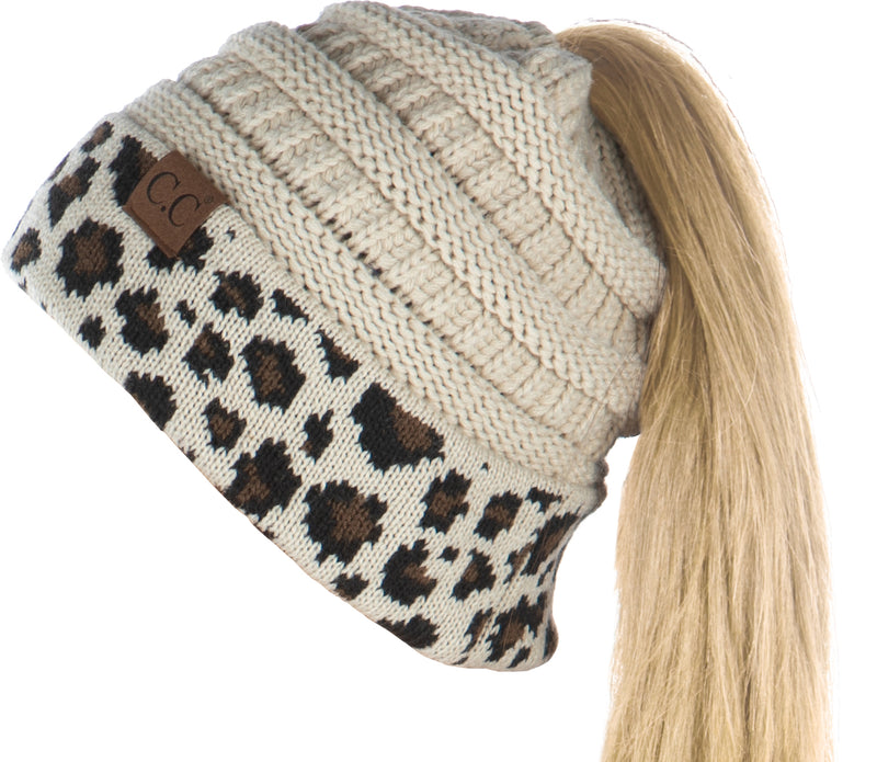 C.C. BeanieTail Women's Ponytail Cable Knit Beanie - Patterns